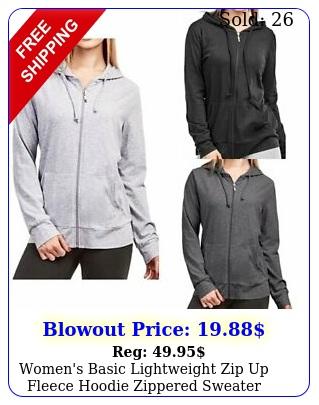 women's basic lightweight zip up fleece hoodie zippered sweater jacket w pocke