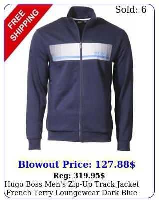 hugo boss men's zipup track jacket french terry loungewear dark blu