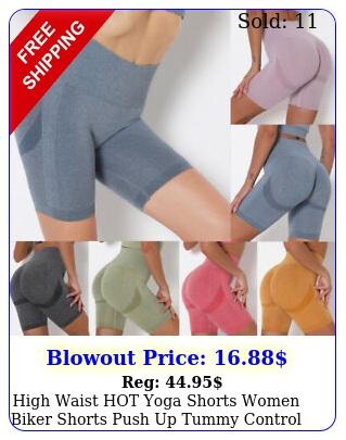 high waist hot yoga shorts women biker shorts push up tummy control leggings gy