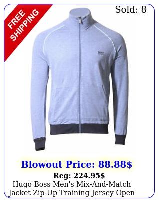 hugo boss men's mixandmatch jacket zipup training jersey open blu