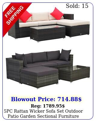 pc rattan wicker sofa set outdoor patio garden sectional furniture cushione