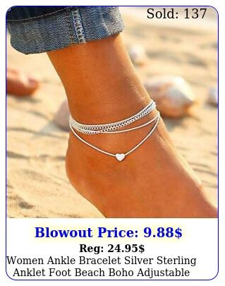 women ankle bracelet silver sterling anklet foot beach boho adjustable chain u