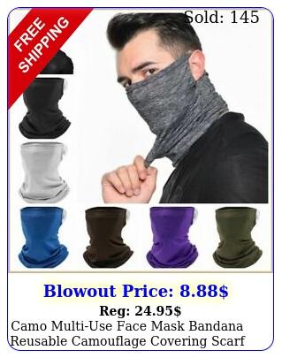 camo multiuse face mask bandana reusable camouflage covering scarf neck gaite