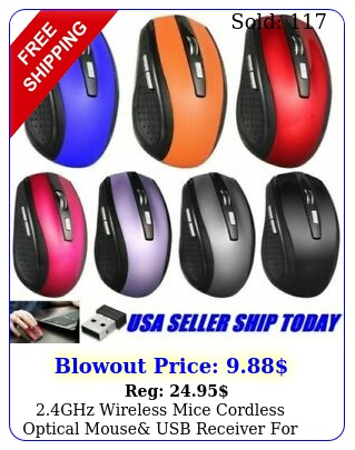 ghz wireless mice cordless optical mouse usb receiver pc laptop compute