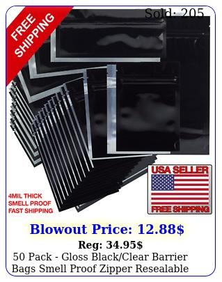 pack gloss blackclear barrier bags smell proof zipper resealabl