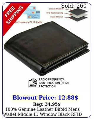 genuine leather bifold mens wallet middle id window black rfid blocking us