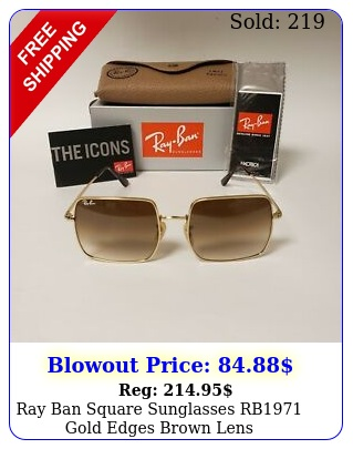 ray ban square sunglasses rb gold edges brown len