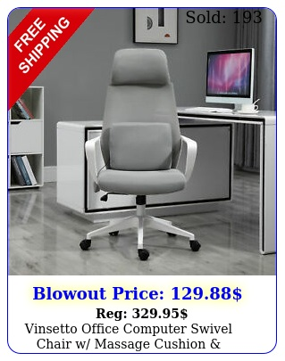 vinsetto office computer swivel chair w massage cushion adjustable seat gre