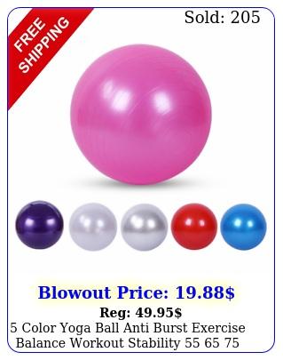 color yoga ball anti burst exercise balance workout stability   c
