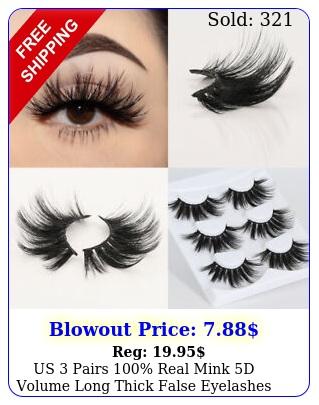 us pairs real mink d volume long thick false eyelashes strip eye lashe