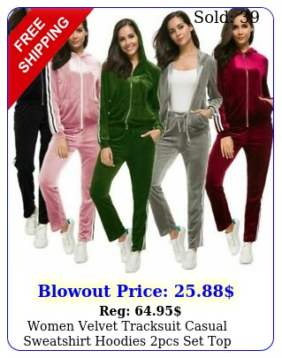 women velvet tracksuit casual sweatshirt hoodies pcs set top pants jumpsui