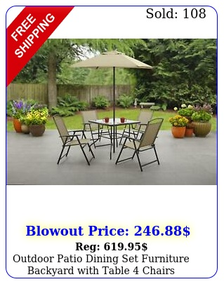 outdoor patio dining set furniture backyard with table chairs umbrella ta