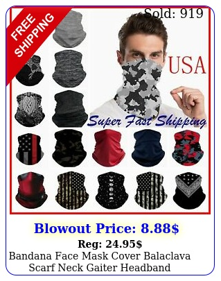 bandana face mask cover balaclava scarf neck gaiter headband reusable washabl