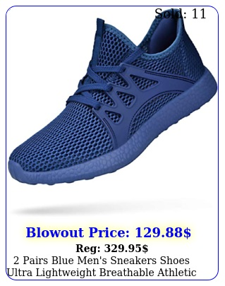 pairs blue men's sneakers shoes ultra lightweight breathable athletic runnin