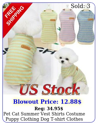 pet cat summer vest shirts costume puppy clothing dog tshirt clothes outfit u