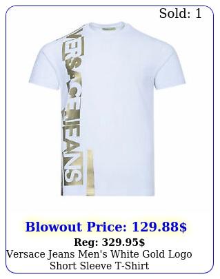 versace jeans men's white gold logo short sleeve tshir
