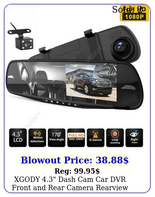xgody dash cam car dvr front rear camera rearview mirror video recorde