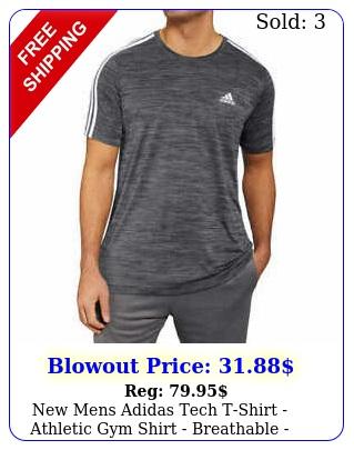 mens adidas tech tshirt athletic gym shirt breathable fast free shi