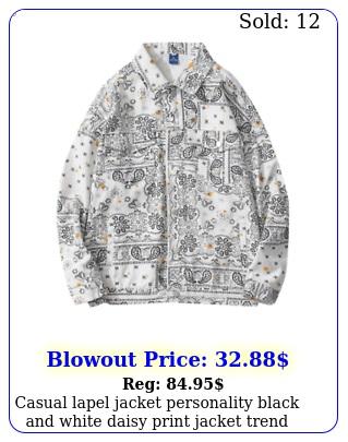 casual lapel jacket personality black white daisy print jacket tren