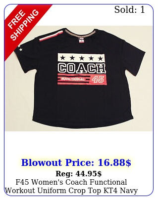 f women's coach functional workout uniform crop top kt navy small nw