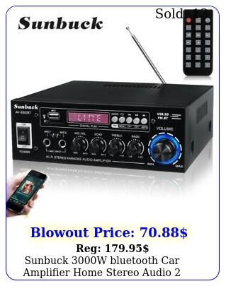 sunbuck w bluetooth car amplifier home stereo audio channel dvd aux fm am