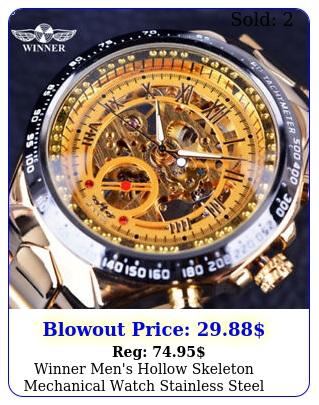 winner men's hollow skeleton mechanical watch stainless steel wrist watches gif