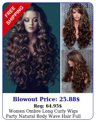 women ombre long curly wigs party natural body wave hair full wig cosplay u