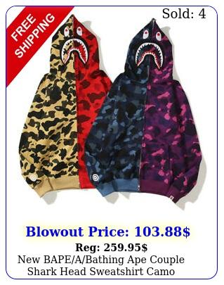 bapeabathing ape couple shark head sweatshirt camo hoodies jacket coa