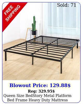 queen size bedstory metal platform bed frame heavy duty mattress foundatio