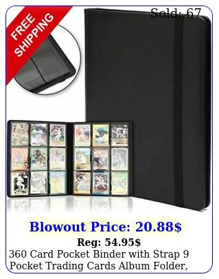 card pocket binder with strap pocket trading cards album folder blac