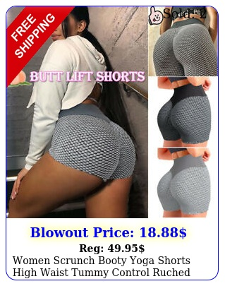 women scrunch booty yoga shorts high waist tummy control ruched butt lift pant