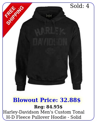 harleydavidson men's custom tonal hd fleece pullover hoodie solid black c