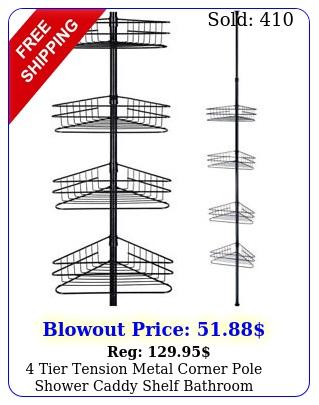 tier tension metal corner pole shower caddy shelf bathroom storage organize
