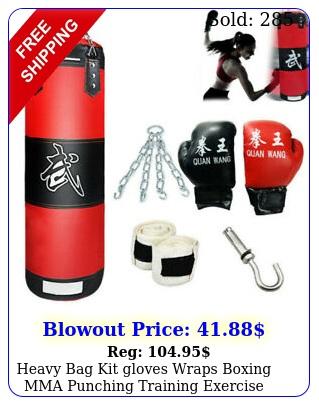 heavy bag kit gloves wraps boxing mma punching training exercise fitnes