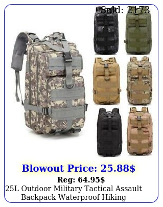 l outdoor military tactical assault backpack waterproof hiking shoulders pac