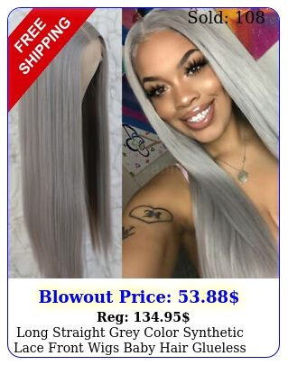 long straight grey color synthetic lace front wigs baby hair glueless wome