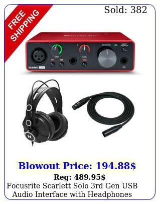 focusrite scarlett solo rd gen usb audio interface with headphones bundl