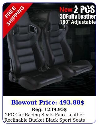 pc car racing seats faux leather reclinable bucket black sport seats universa