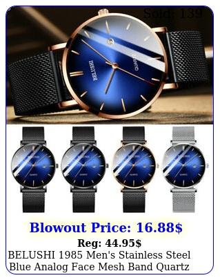 belushi men's stainless steel blue analog face mesh band quartz wrist watc
