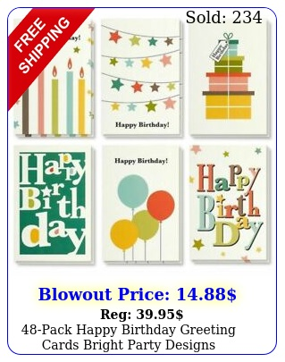 pack happy birthday greeting cards bright party designs wenvelope