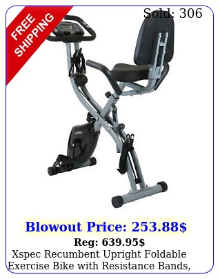 xspec recumbent upright foldable exercise bike with resistance bands blac