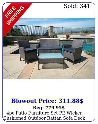 pc patio furniture set pe wicker cushioned outdoor rattan sofa deck lawn garde