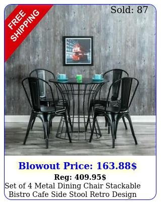 set of metal dining chair stackable bistro cafe side stool retro design blac