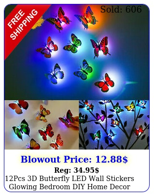 pcs d butterfly led wall stickers glowing bedroom diy home decor night ligh