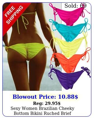 sexy women brazilian cheeky bottom bikini ruched brief swimwear bathing swimsui