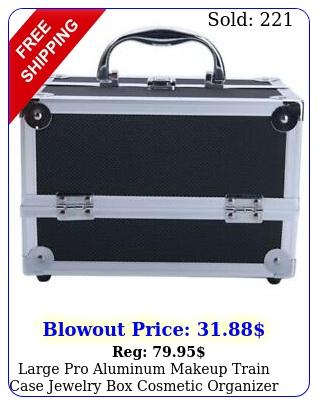 large pro aluminum makeup train case jewelry cosmetic organizer foldabl