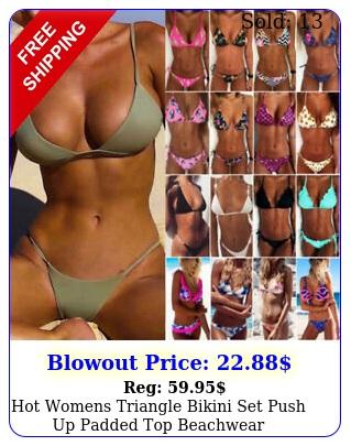 hot womens triangle bikini set push up padded top beachwear swimwear swimsuit l