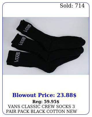 vans classic crew socks pair pack black cotton us mens shoe siz
