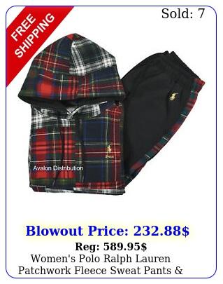women's polo ralph lauren patchwork fleece sweat pants hoodie track sui