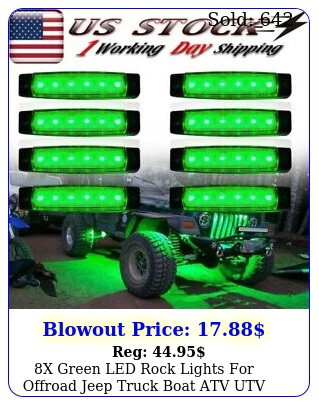 x green led rock lights offroad jeep truck boat atv utv underbody light ki